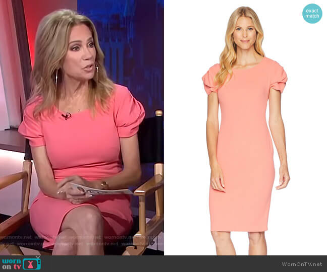 Tulip Sleeve Sheath Dress by Calvin Klein  worn by Kathie Lee Gifford on Today