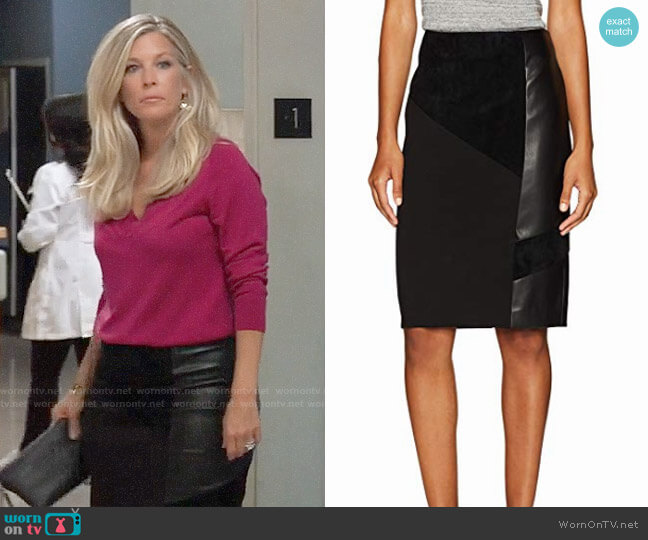 Calvin Klein Pencil Skirt With Suede and PU worn by Laura Wright on General Hospital