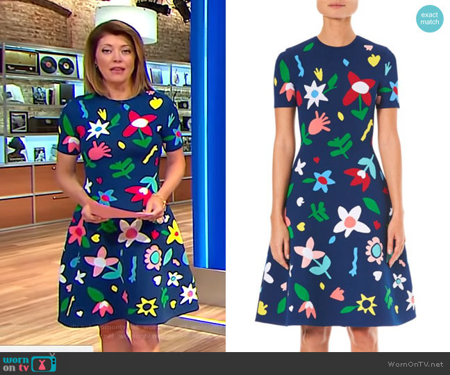 Short Sleeve Floral Knit Dress by Carolina Herrera worn by Norah O'Donnell on CBS This Morning