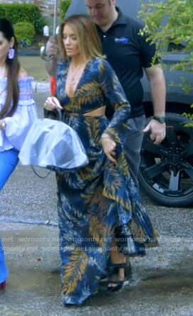 Cary's leaf print cutout dress on The Real Housewives of Dallas