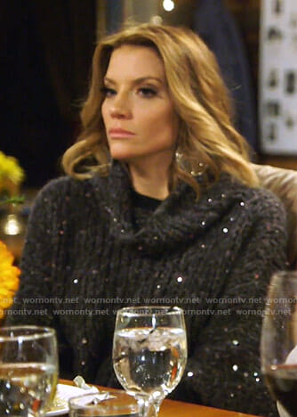 Cary's sequin chunky knit sweater on The Real Housewives of Dallas