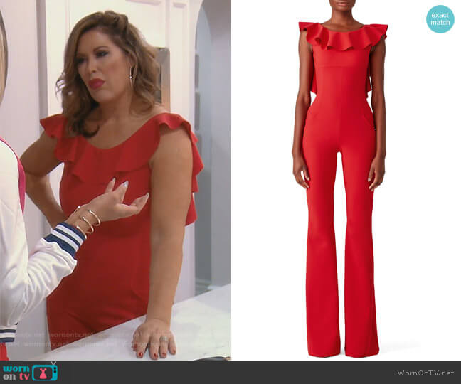 Ruffle Back Jumpsuit by Chiara Boni La Petite Robe worn by Emily Simpson  on The Real Housewives of Orange County