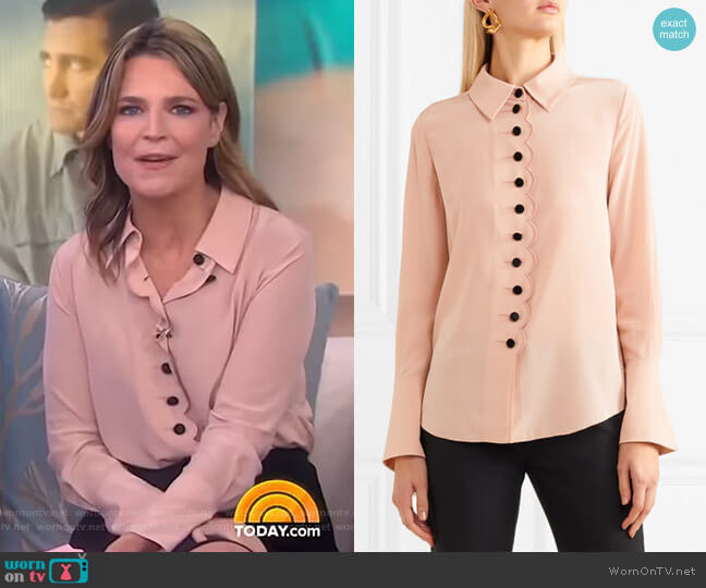 Scalloped Silk Blouse by Chloe worn by Savannah Guthrie on Today