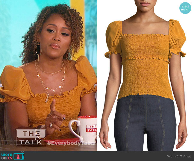 Ellis Smocked Short-Sleeve Top by Cinq a Sept worn by Eve  on The Talk