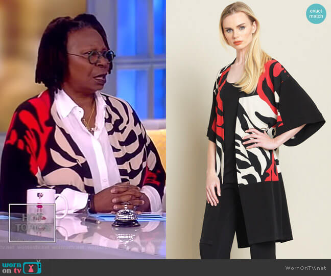 Rose Stamp Modern Kimono Duster by Clara Sunwoo worn by Whoopi Goldberg  on The View