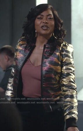 Cookie's metallic tiger print bomber jacket on Empire
