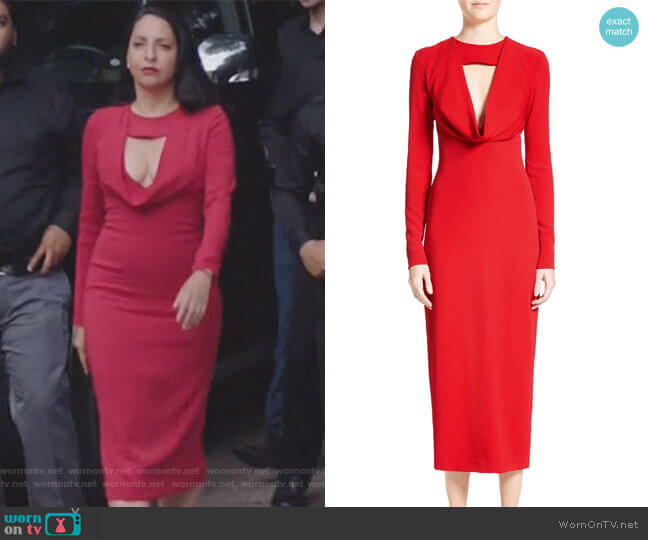 Cowl Neck Pencil Dress by Cushnie Et Ochs worn by Camila Vargas (Veronica Falcón) on Queen of the South
