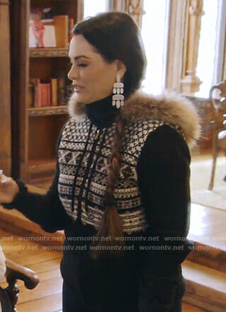 D'Andra's black zip front sweater with fur on The Real Housewives of Dallas