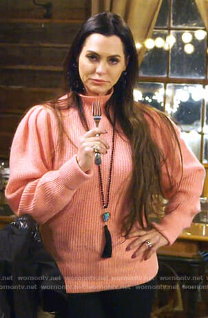 D'Andra's pink puff sleeve sweater on The Real Housewives of Dallas