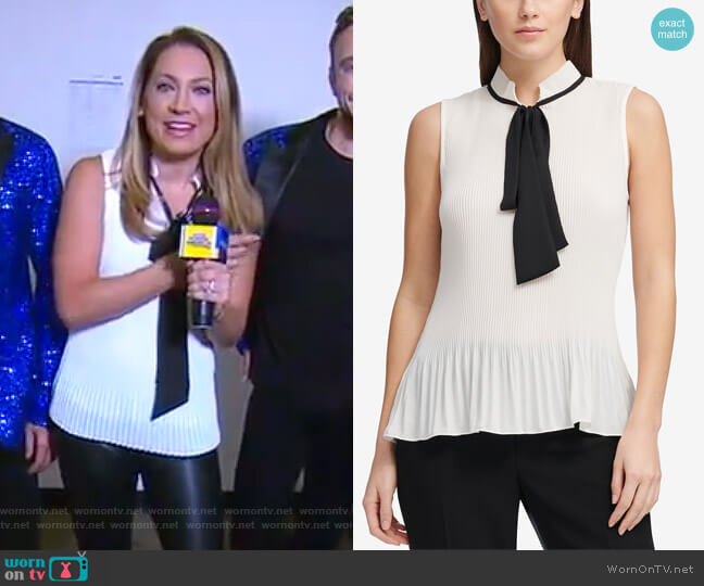 Pleated Tie-Neck Top by DKNY worn by Ginger Zee on Good Morning America