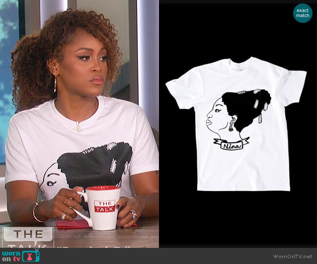 Nina T-Shirt by Deer Dana worn by Eve  on The Talk