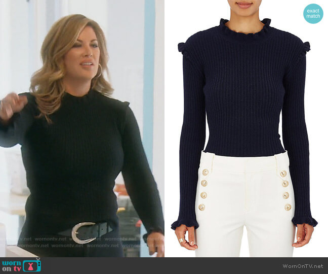 Cashmere Embellished Rib-Knit Sweater by Derek Lam 10 Crosby worn by Emily Simpson  on The Real Housewives of Orange County