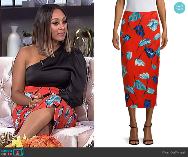 Floral Midi Pencil Skirt by Diane von Furstenberg worn by Tamera Mowry on The Real