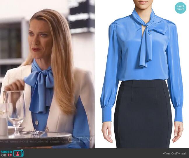 High Neck Long-Sleeve Silk Bow Blouse by Diane von Furstenberg worn by Sydney (Heather Doerksen) on Take Two