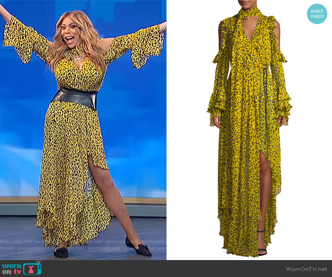 Ruffle Long-Sleeve Printed High-Low Maxi Dress by Diane von Furstenberg worn by Wendy Williams  on The Wendy Williams Show
