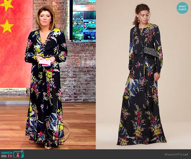 Waist Tie Maxi Dress by Diane Von Furstenberg worn by Norah O'Donnell on CBS This Morning