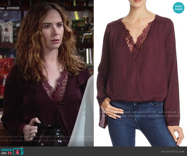 Do and Be Lace-Trim Crossover Top worn by Mariah Copeland (Camryn Grimes) on The Young & the Restless