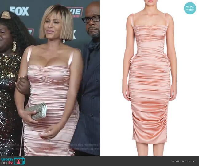 Ruched Satin Lace-Up Dress by Dolce & Gabbana worn by Nicole Ari Parker on Empire