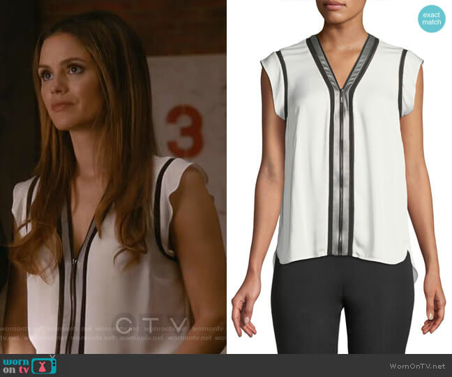 Vallie Blouse by Elie Tahari worn by Rachel Bilson on Take Two