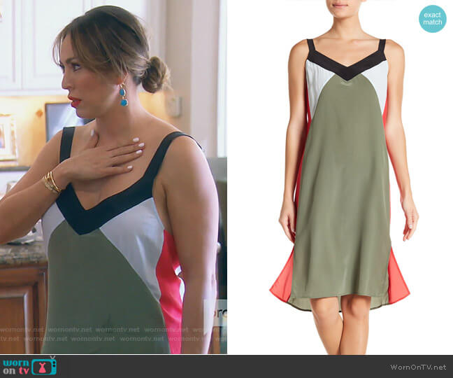 Robbi Silk Colorblock Slip Dress by Equipment worn by Kelly Dodd  on The Real Housewives of Orange County