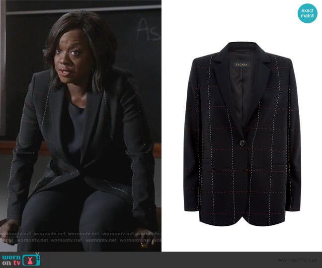 Escada Checked Blazer worn by Annalise Keating (Viola Davis) on HTGAWM