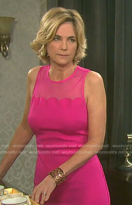 Eve's pink scalloped sleeveless dress on Days of our Lives
