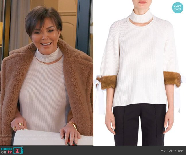 Cashmere Mink-Cuff Knit Sweater by Fendi worn by Kris Jenner on Keeping Up with the Kardashians