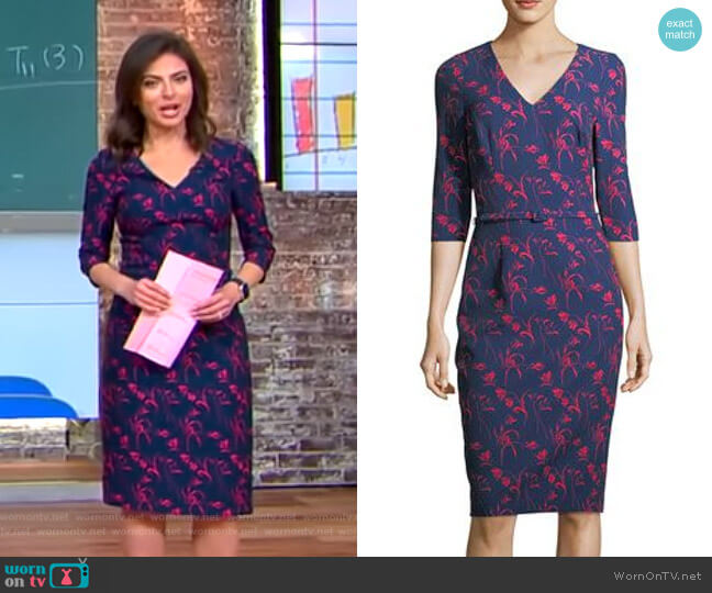 Floral-Print 3/4 Sleeves Sheath Dress by David Meister worn by Bianna Golodryga  on CBS This Morning