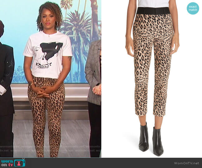 Cheetah Print Tuxedo Pants by Frame worn by Eve  on The Talk