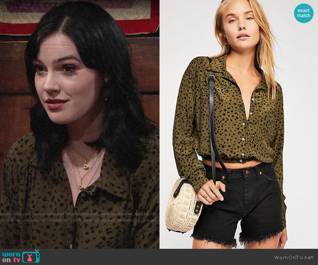 Free People Wishing Well Printed Top worn by Tessa Porter (Cait Fairbanks) on The Young & the Restless