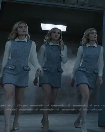 The Frost Sisters' blue tweed dress on The Gifted