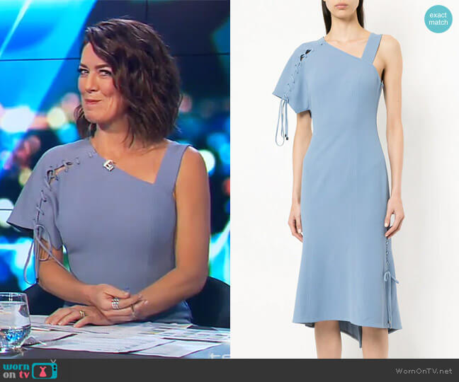 Sequel one-shoulder dress by Ginger & Smart worn by Gorgi Coghlan  on The Project