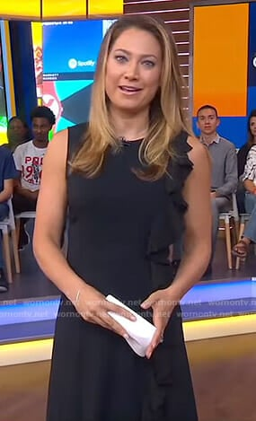 Ginger's black ruffle side dress on Good Morning America