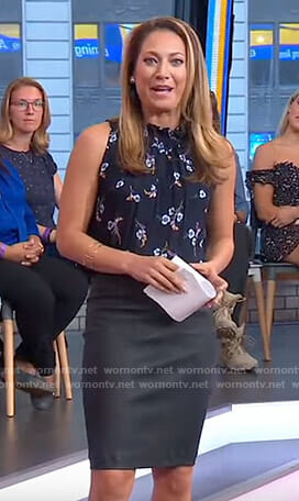 Ginger's navy floral top and leather skirt on Good Morning America