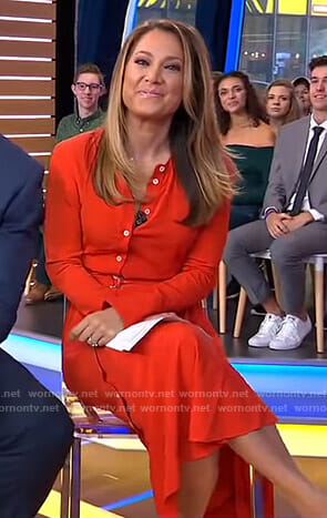 Ginger's red asymmetric button down dress on Good Morning America