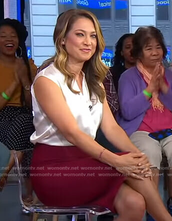 Ginger's white sleeveless blouse and red skirt on Good Morning America