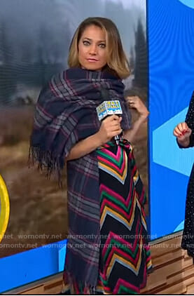 Ginger's black zig zag striped dress and plaid scarf on Good Morning America