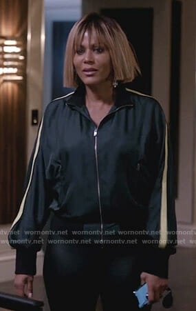 Giselle's green side stripe track jacket on Empire