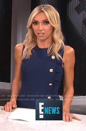 Giuliana's navy ruffled button front dress on E! News