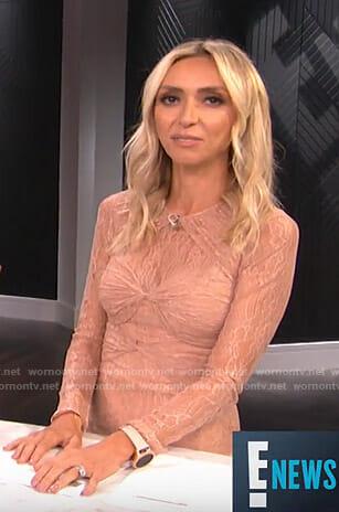 Giuliana's pink twisted front lace dress on E! News