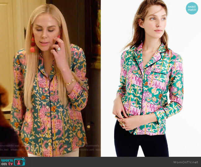 Green Bengal Tiger Pajamas by Collection Drakes for J. Crew worn by Kameron Westcott  on The Real Housewives of Dallas