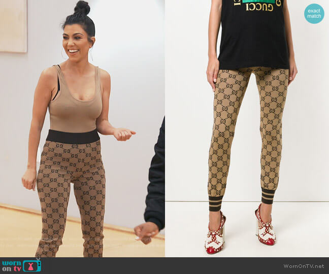 Supreme Print Cotton Pants by Gucci worn by Kourtney Kardashian (Kourtney Kardashian) on Keeping Up with the Kardashians