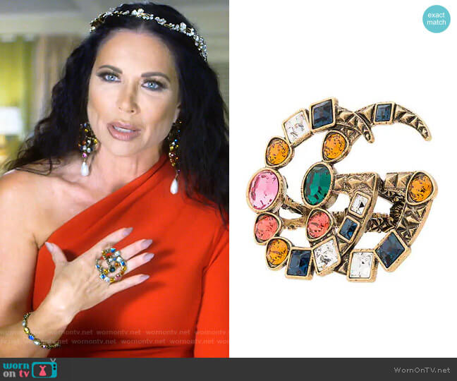 GG Crystal Embellished Ring by Gucci worn by LeeAnne Locken  on The Real Housewives of Dallas