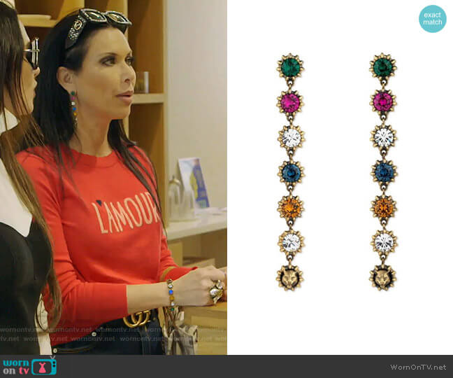 Pendant Earrings With Crystals by Gucci worn by LeeAnne Locken  on The Real Housewives of Dallas