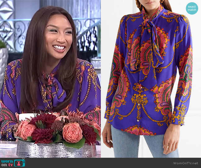 Treasure pussy-bow blouse by Gucci worn by Jeannie Mai  on The Real