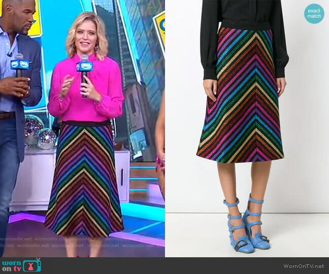 Metallic Striped Knit Skirt by Gucci worn by Sara Haines  on Good Morning America
