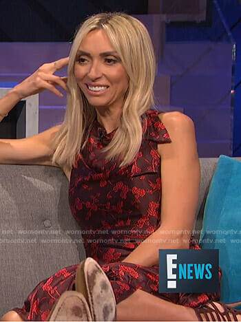Giuliana's red floral bow dress on E! News