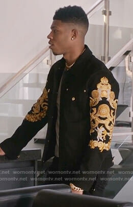 Hakeem's black printed denim jacket on Empire