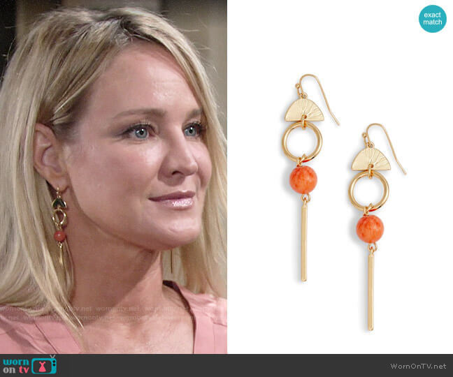 Halogen Geo Linear Drop Earrings worn by Sharon Collins (Sharon Case) on The Young & the Restless