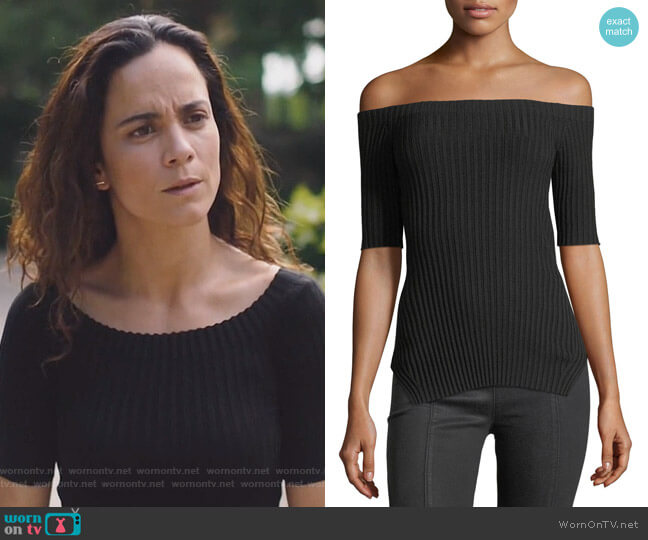 Off-the-Shoulder Short-Sleeve Ribbed Silk Top by Helmut Lang worn by Alice Braga on Queen of the South